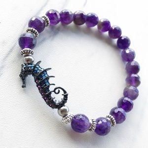 Genuine faceted amethyst & cz seahorse bracelet